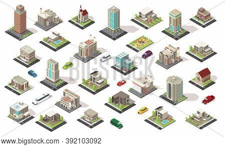 Isometric City Elements Collection With Living And Municipal Buildings Suburban Houses Children Play
