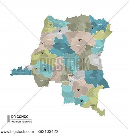 Dr Congo Higt Detailed Map With Subdivisions. Administrative Map Of Dr Congo With Districts And Citi