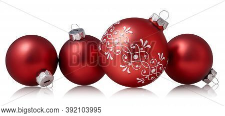 Red Christmas Baubles Isolated Over White Background. Holiday Ornament, Winter Decoration. Clipping