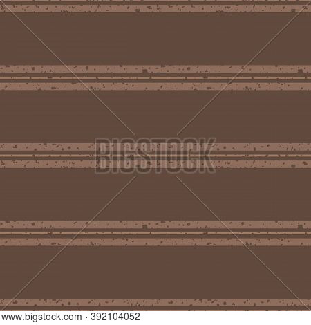 Vector Light And Dark Brown Groups Of Stripes With Etched Grunge Texture. Seamless Vector Pattern On