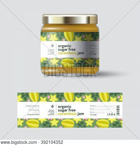 Star Fruit (carambola) Jam Label And Packaging. Jar With Cap With Label. White Strip With Text And O