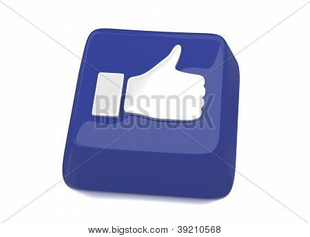 Thumb Up Icon In White On Blue Computer Key. 3D Illustration. Isolated Background.