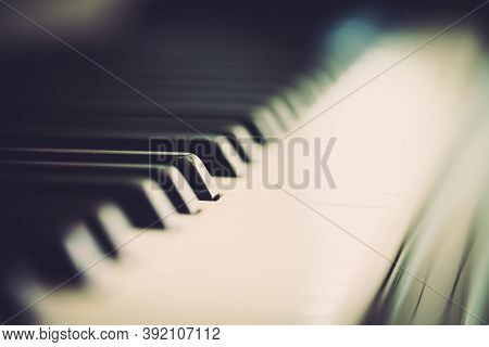 Piano And Keyboard Piano, Music Instrument. Black And White Key. Side View Of Instrument Musical Too