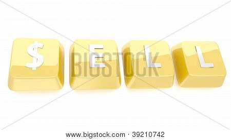 Sell Written In White On Golden Computer Keys. 3D Illustration. Isolated Background.