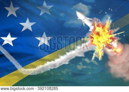 Solomon Islands Intercepted Supersonic Missile, Modern Antirocket Destroys Enemy Missile Concept, Mi
