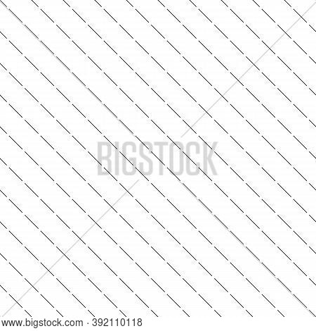 Diagonal Thin Dashed White Lines Abstract On Black Background. Seamless Surface Pattern With Linear