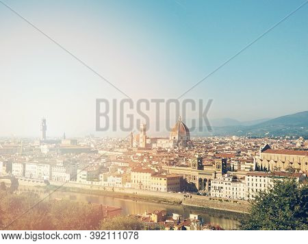 Panorama Landscape Of Florence And Cathedral Saint Mary Of The Flower. Beautiful Cityscape Of Arno R