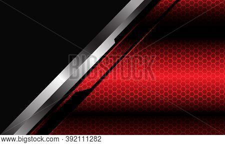 Abstract Red Metallic Hexagon Mesh Pattern Silver Black Line Cyber Slash Grey Triangle Design Modern