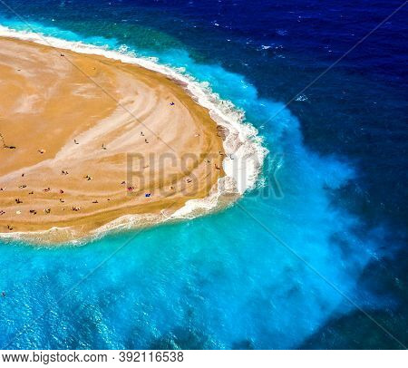 Aerial Drone View On Rhodes Island Town Elli Beach Popular Summer Tourist Destination, Dodecanese, A