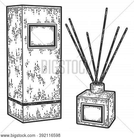 Home Fragrance Perfume Diffuser With Wooden Sticks In Elegant Glass Bottle. Engraving Vector Illustr