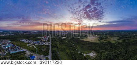 Panorama Of Dawn In The Northern Region Of Russia, Khanty-mansiysk, White Nights With Stunning Orang