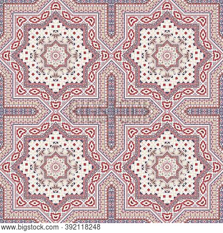 Intricate Italian Maiolica Tile Seamless Pattern. Ethnic Structure Vector Patchwork. Coverlet Print