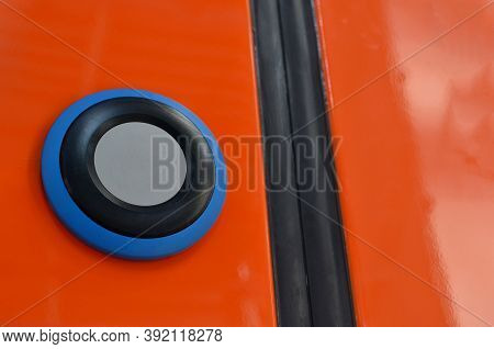 Button With Sign Wheelchair. Train Door Push Button Press To Open Sliding Mechanical Door At A Train