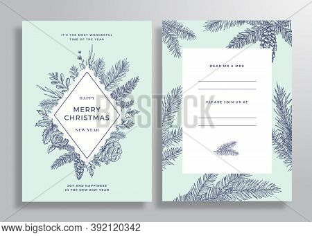 Christmas Abstract Vector Frame Greeting Card, Poster Or Background. Back And Front Invitation Desig