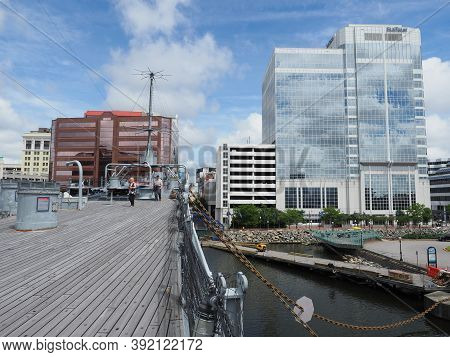 Norfolk, Usa - June 9, 2019: A View Of Norfolk From The Bow Of The Uss Wisconsin.