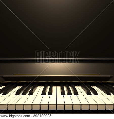 Piano Keyboard, Front View, Copy Space. 3D Illustration