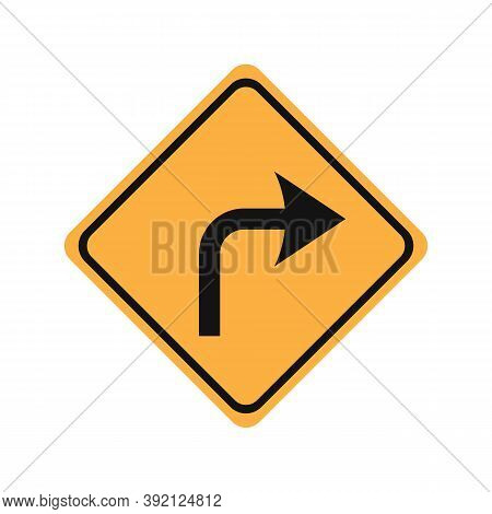 Turn Right Glyph Icon Road Sign Vector Illustration In White Background. Turn Right Icon Sign