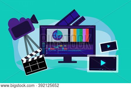 Video Production Vector Illustration, Film Editing Monitor, Clap Board, Film Strip, Camera, Video Pl