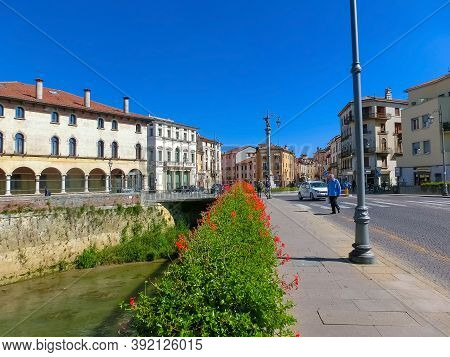 Vicenza, Italy - September 22, 2014: The Street In The Downtown At Vicenza, Italy On September 22, 2