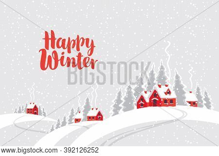 Snowy Winter Landscape With Village Houses And Fir Trees On The Snow-covered Hills. Decorative Vecto