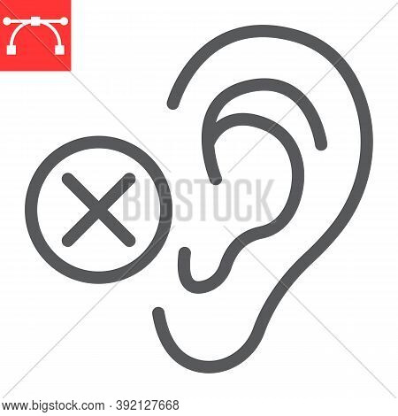 Deaf Line Icon, Disability And Deafness, Hearing Impaired Sign Vector Graphics, Editable Stroke Line