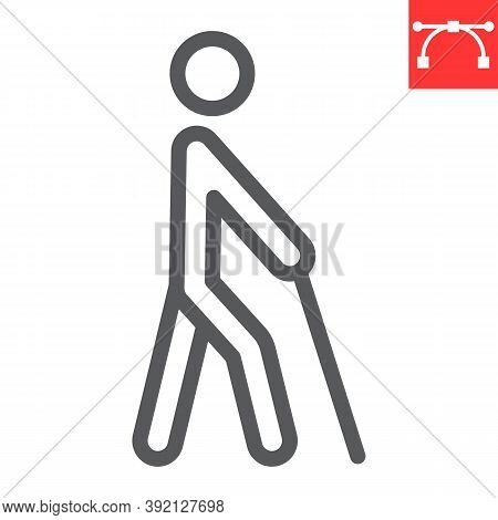 Blind Man With Walking Stick Line Icon, Disability And Blindness, Blind Person Sign Vector Graphics,