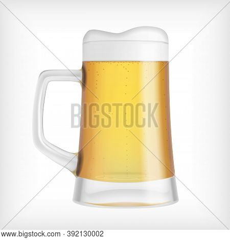 Lager Beer Glass Mug Isolated On White Abckground