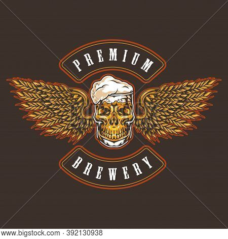 Brewery Vintage Colorful Logotype With Beer Mug In Skull Shape And Eagle Wings Made Of Wheat Ears Is