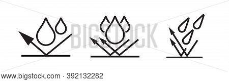 Waterproof Icon, Water Proof Drop Resistant, Vector Logo. Impermeable, Hydrophobic Waterproof Fabric