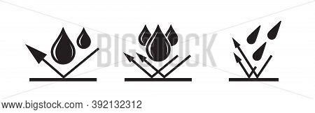 Waterproof Icon, Water Proof Drop Resistant, Vector. Impermeable And Hydrophobic Waterproof Or Water
