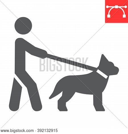 Blind Man With Guide Dog Glyph Icon, Disability And Pet, Blind With Guide Dog Sign Vector Graphics,