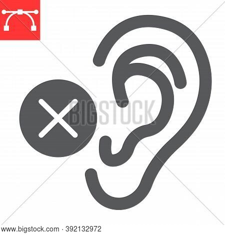 Deaf Glyph Icon, Disability And Deafness, Hearing Impaired Sign Vector Graphics, Editable Stroke Sol