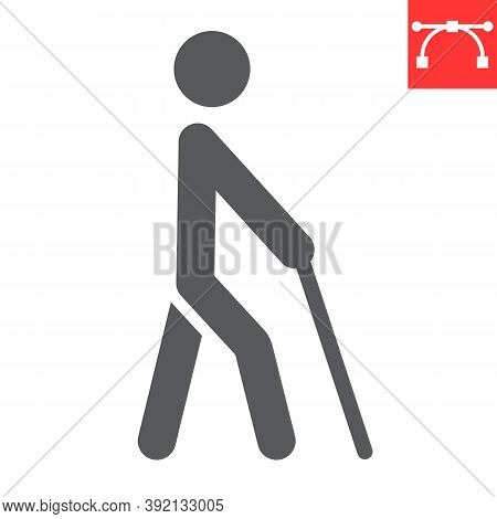 Blind Man With Walking Stick Glyph Icon, Disability And Blindness, Blind Person Sign Vector Graphics