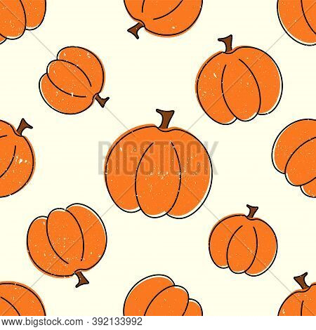 Cute Pumpkins Seamless Pattern On Beige Background With Aged Scratched Paper Effect. Helloween Backg
