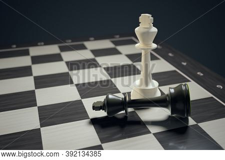 Chess two kings checkmate 3D illustration
