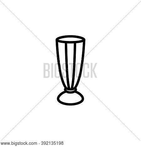 Milkshake Glass Vector Icon. Cute Outlined Milkshake Glass Isolated On White Background. Minimalist