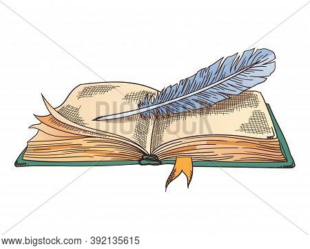 Old Books. Vector Old Open Book With Vintage Antique Quill. Parchment Paper. Retro Writing Stationer