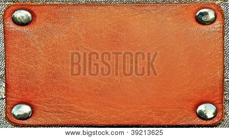 Business wide and long texture of leather yellow and blank brown label close up view isolated over white background, perspective and successful concept of promotion products and items