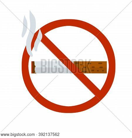 No Smoking Sign. Crossed Out Cigarette In Red Circle. Rule And Warning. Bad Habit, And Tobacco. Flat