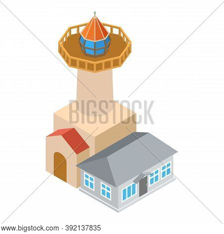 Sea Tower Icon. Isometric Illustration Of Sea Tower Vector Icon For Web