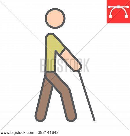 Blind Man With Walking Stick Color Line Icon, Disability And Blindness, Blind Person Sign Vector Gra