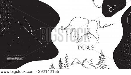 Zodiac Background. Taurus Constellation. Horizontal Banner. Continuous Line.