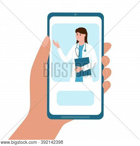 Hand Holding Mobile Phone With Online Doctor Service. Therapist Give Consultation To Patient From Sm