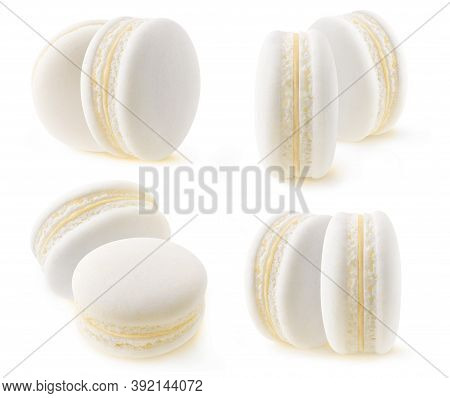 Isolated White Macaroon Collection. Two Vanilla Or Coconut Macarons Isolated On White Background