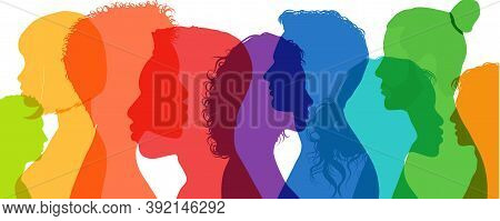 Group Diversity Silhouette Multiethnic People From The Side. Community Of Colleagues Or Collaborator