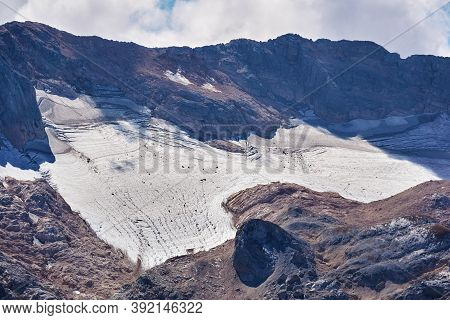 Mountain Glacier Near The Summit Of Mount Fisht In The Western Caucasus, In The Republic Of Adygea,