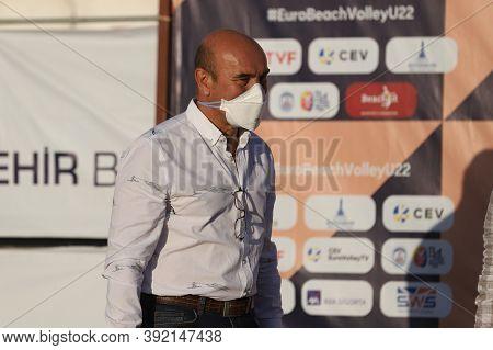 Izmir, Turkey - September 27, 2020: Izmir Mayor Tunc Soyer In U22 Beach Volleyball European Champion