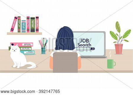 Job Searching Concept. Back View Of Woman Browsing Work Opportunities Online Using Job Search Comput