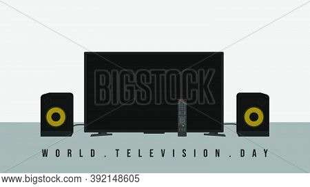 World Television Day Design With Television, Tv Remote And Speaker Vector Illustration. Good Templat