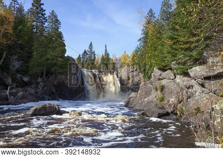 Illgen Falls On The Baptism River Of Minnesota's North Shore During Autumn